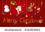 christmas poster with ornaments ... | Shutterstock .eps vector #316303601
