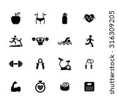 fitness icons. health icon. gym ... | Shutterstock .eps vector #316309205