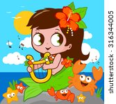 cute mermaid by the sea playing ... | Shutterstock .eps vector #316344005