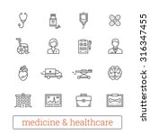 medicine thin line icons ... | Shutterstock .eps vector #316347455