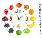 food clock with fruits and... | Shutterstock . vector #316348559