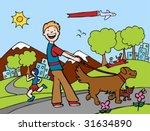 Stock vector dog walker park 31634890