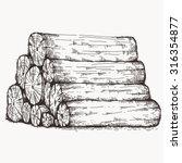 log pile sketch | Shutterstock .eps vector #316354877
