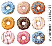 Set Of Cartoon Donuts Isolated...