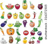cartoon vegetables and fruits  | Shutterstock .eps vector #316372505