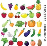 cartoon vegetables and fruits  | Shutterstock .eps vector #316372511