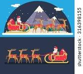 santa claus sleigh reindeer... | Shutterstock .eps vector #316398155
