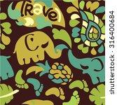 elephant travel ornament... | Shutterstock .eps vector #316400684