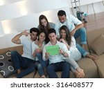 group of friends taking selfie... | Shutterstock . vector #316408577
