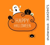 ghost  pumpkin  eyeball ... | Shutterstock . vector #316424471