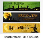 three halloween banners. green  ...