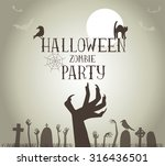 halloween zombie party poster... | Shutterstock .eps vector #316436501