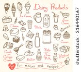 Set Drawings Of Milk And Dairy...