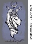 ornate nocturnal bat with moons.... | Shutterstock .eps vector #316445075