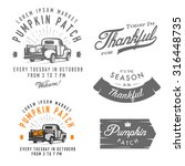 set of vintage thanksgiving day ... | Shutterstock .eps vector #316448735