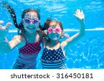 two little girls deftly swim... | Shutterstock . vector #316450181