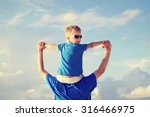 happy father and little son on... | Shutterstock . vector #316466975