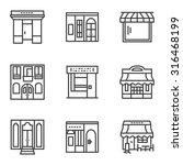 set of black simple line style... | Shutterstock .eps vector #316468199
