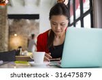 lifestyle coffee  woman using... | Shutterstock . vector #316475879