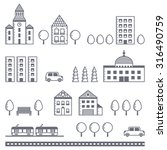 city vector gray set  houses ... | Shutterstock .eps vector #316490759