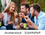 Pizza Lovers. Group Of Playful...