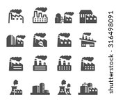 factory plant building icon set ... | Shutterstock .eps vector #316498091