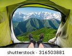 view from inside a tent on the... | Shutterstock . vector #316503881