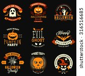 set of retro vintage halloween... | Shutterstock .eps vector #316516685