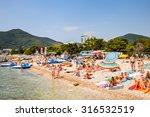 Small photo of BUDVA, MONTENEGRO - AUG 13, 2015: Coast of Budva resort on the Adriatic sea. Adriatic sea has a catchment area of 235 000 km2