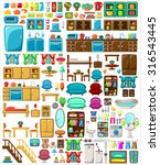 big set of furniture on a white ... | Shutterstock .eps vector #316543445