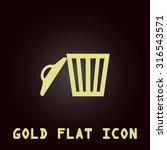 trash can. gold flat vector...