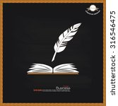 feather with open book on... | Shutterstock .eps vector #316546475