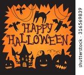 happy halloween poster with... | Shutterstock .eps vector #316569839