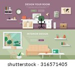Flat style concept set of interior design room types. Web banner vector illustration  | Shutterstock vector #316571405