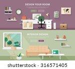 Flat style concept set of interior design room types. Web banner vector illustration  | Shutterstock vector #316571405