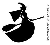 silhouette of a witch on a... | Shutterstock . vector #316575479
