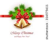 golden christmas bells with red ... | Shutterstock . vector #316575611