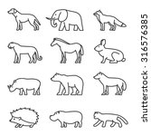 outline icon animals set.... | Shutterstock .eps vector #316576385