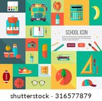 big vector school icons set.... | Shutterstock .eps vector #316577879