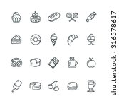 bakery and pastry icons set....