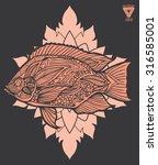 zentangle style fish vector  | Shutterstock .eps vector #316585001