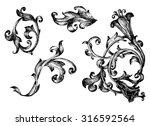vector set  calligraphic design ... | Shutterstock .eps vector #316592564