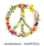 Peace Sign With Flowers For...