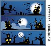 set of halloween banner.... | Shutterstock .eps vector #316611161