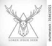 abstract vector line style deer ... | Shutterstock .eps vector #316613321