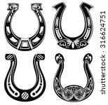 Stock vector horse shoe set lucky steel horseshoes vector set 316624751