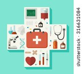 medical flat icons located in a ... | Shutterstock . vector #316631084