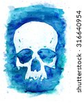 Hand Drawn Watercolor Skull....