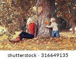 Family In Autumn Park  Mom...
