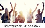 teenagers friends beach party... | Shutterstock . vector #316655579